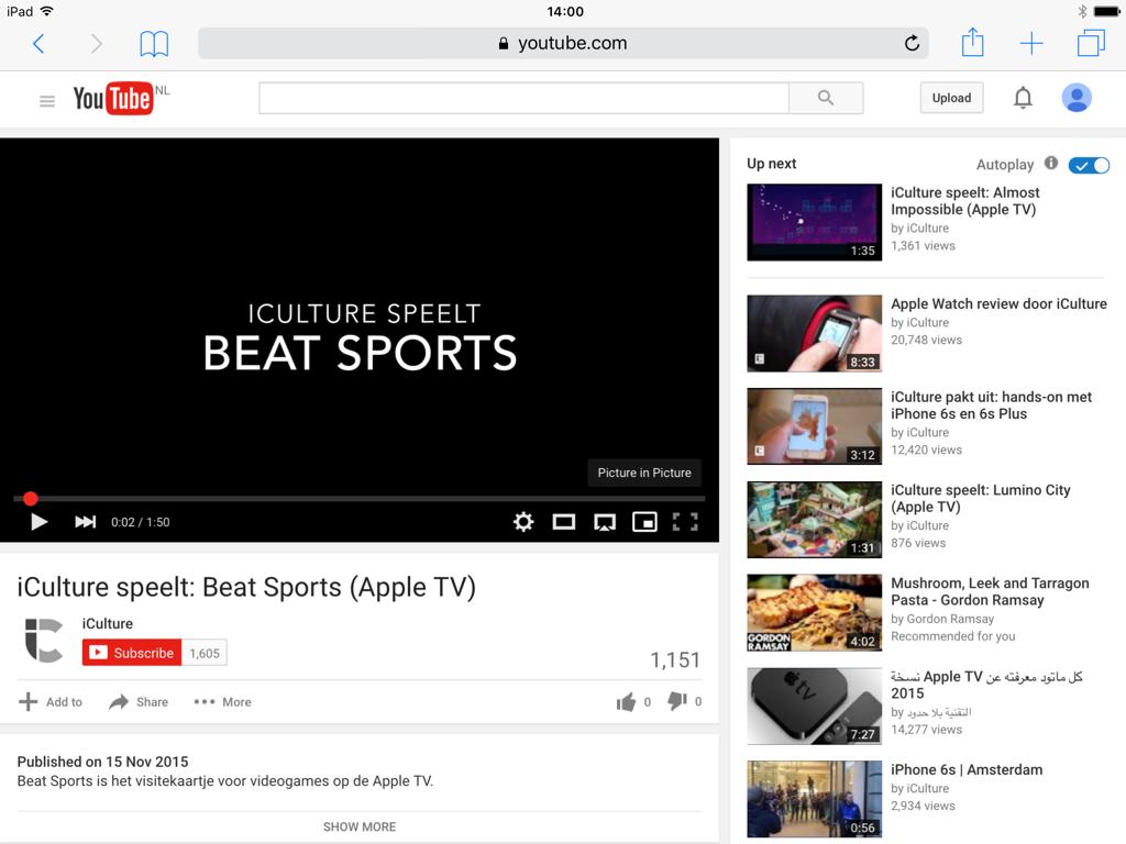 YouTube filmpjes kijken op de iPad via de desktopsite voor Picture in Picture.