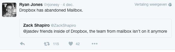 Mailbox wordt niet verder ontwikkeld, tweet van Ryan Jones.