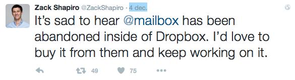 Dropbox is gestopt met Mailbox, meldt Zack Shapiro.