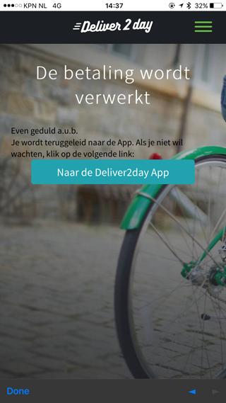 Deliver2day: de betaling wordt verwerkt.
