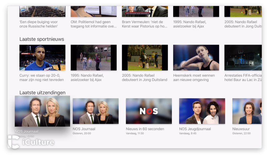 NOS-app Apple TV: videoweergave