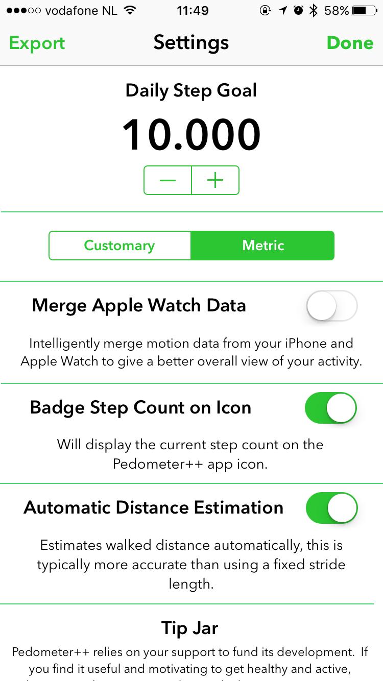 Pedometer++ voor de iPhone.