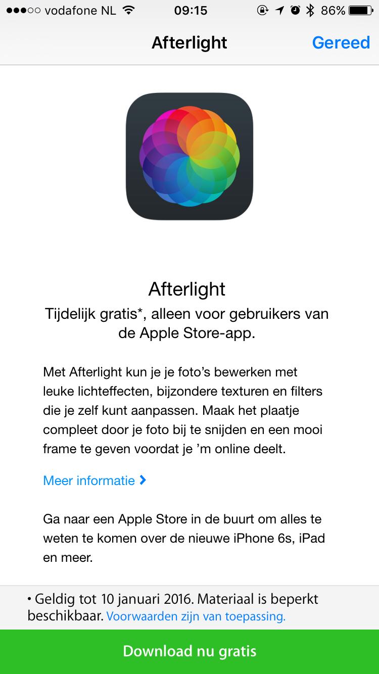 Afterlight downloaden vanuit de Apple Store-app.