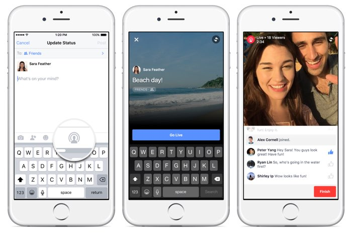 Facebook Live Video: enkele screenshots in de app.