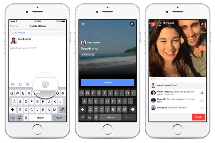 Facebook Live Video: enkele screenshots in de app.