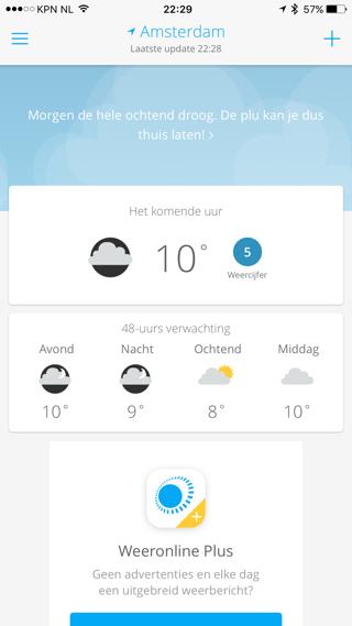 Weeronline: hoofdscherm met temperatuur en vooruitblik.