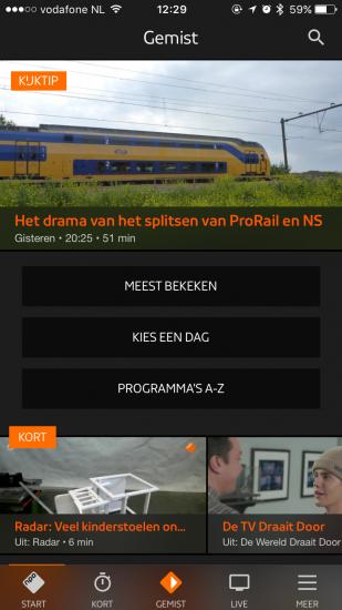 NPO-app met vernieuwd design.