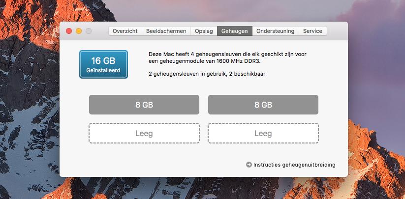 Werkgeheugen vrij op de Mac
