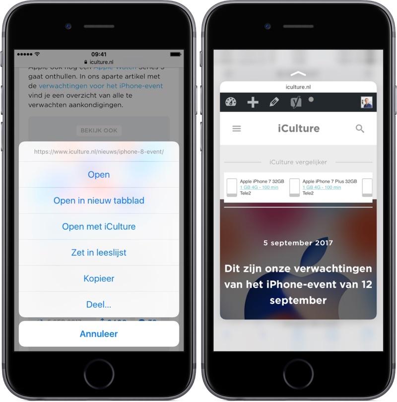 Link en preview in Safari bekijken met 3D Touch