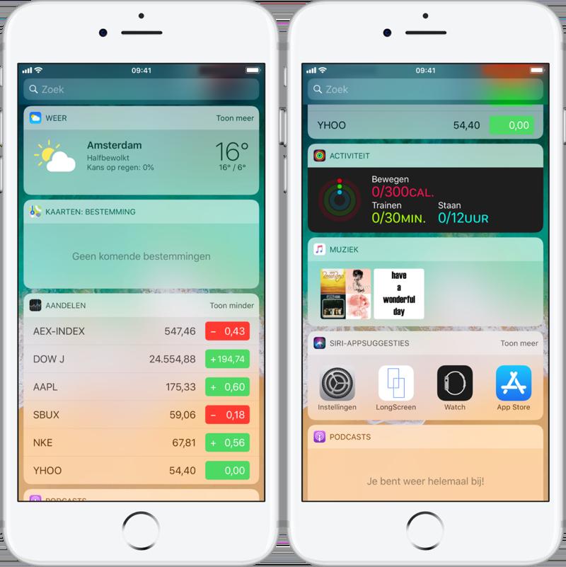 Widgets van Weer, Siri en meer op de iPhone.