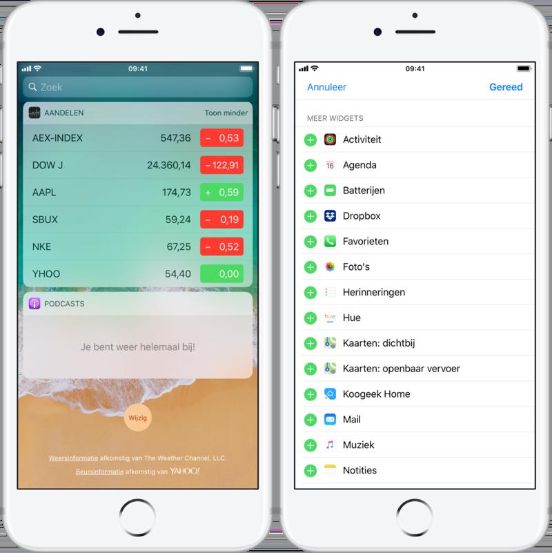 Widgets toevoegen op de iPhone.