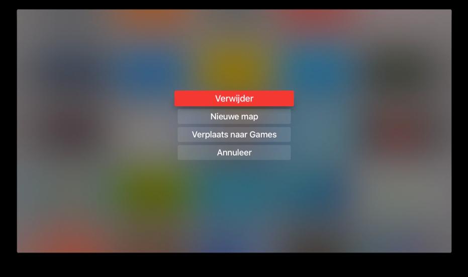 Opties voor een map op de Apple TV.