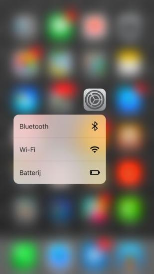 Instellingen-app met 3D Touch in iOS 9.