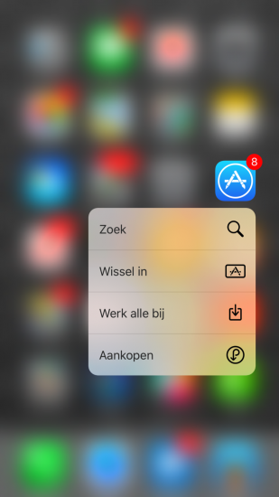 App Store-app met 3D Touch in iOS 9.