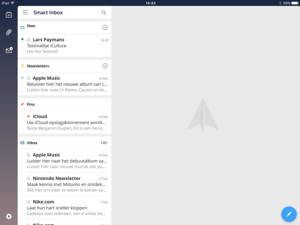 Een overzicht met gesorteerde mails in Spark op de iPad dankzij de slimme inbox.