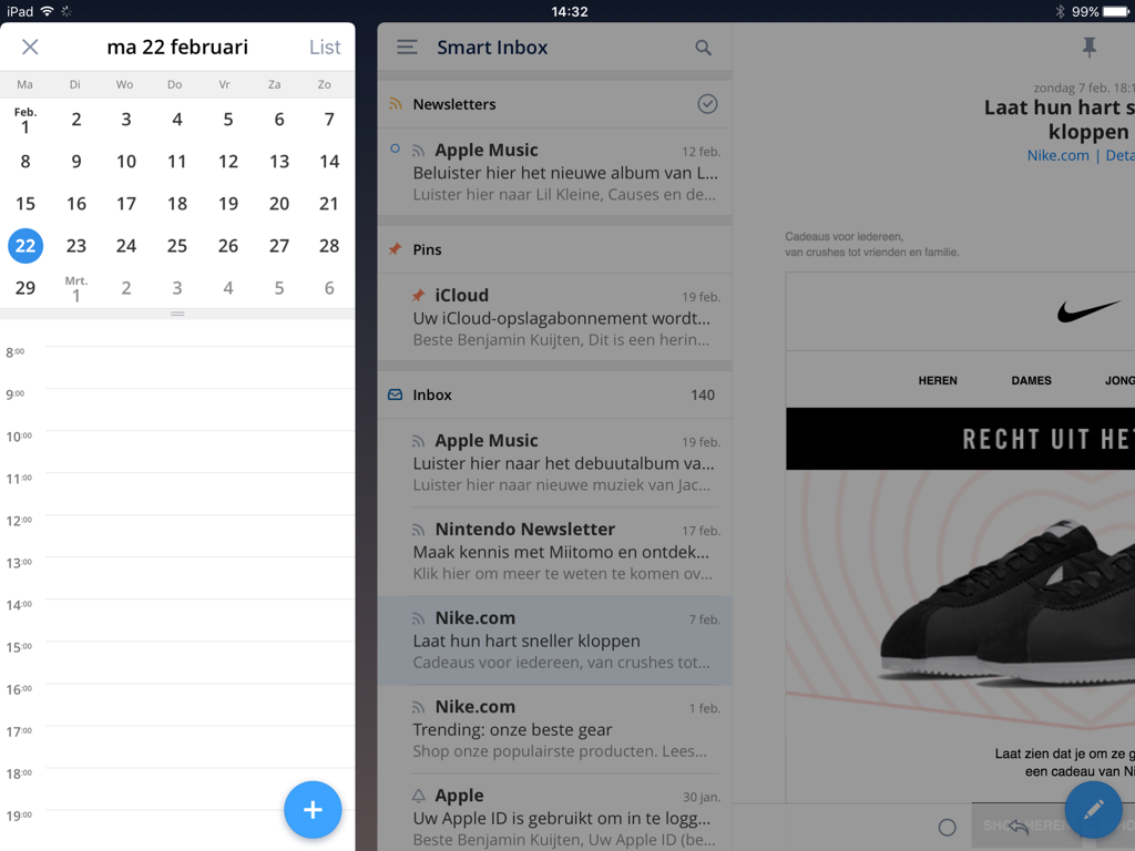 De agenda-widget in Spark op de iPad.