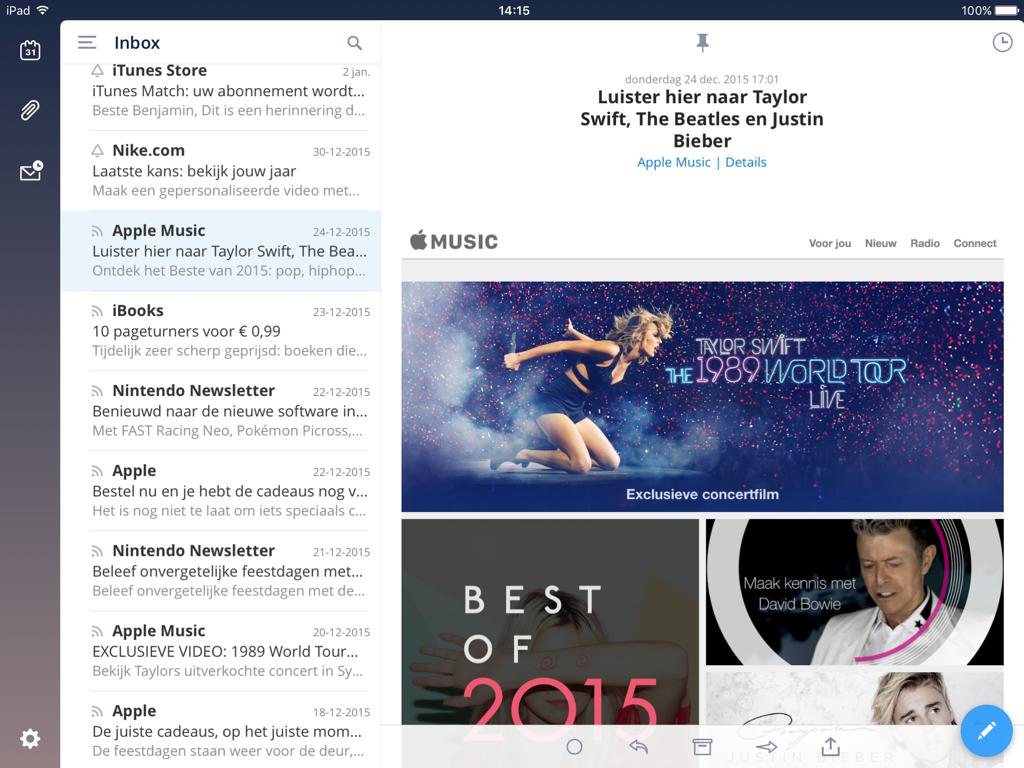 Een mail bekijken in Spark op de iPad.