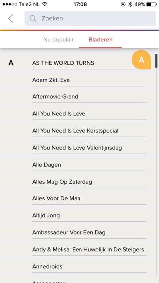 RTL XL aangepaste zoekfunctie