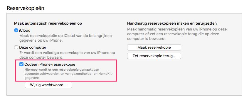 Een versleutelde reservekopie maken in iTunes.