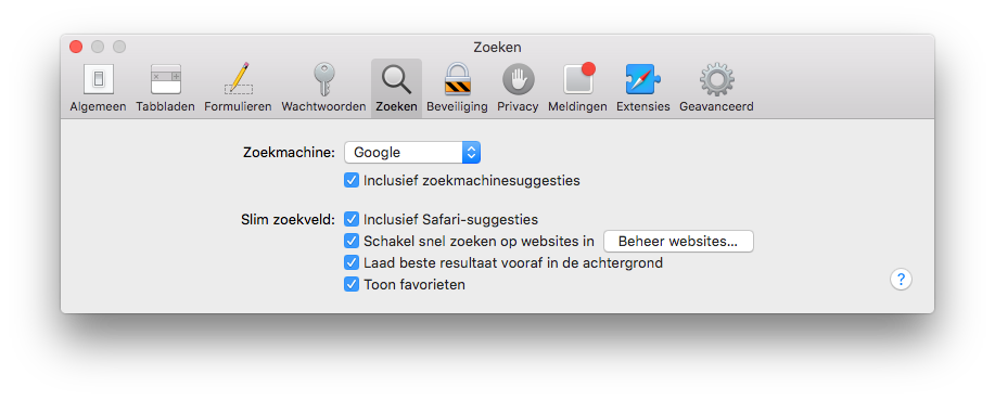 Zoekmachinesuggesties en Safari-suggesties op de Mac.