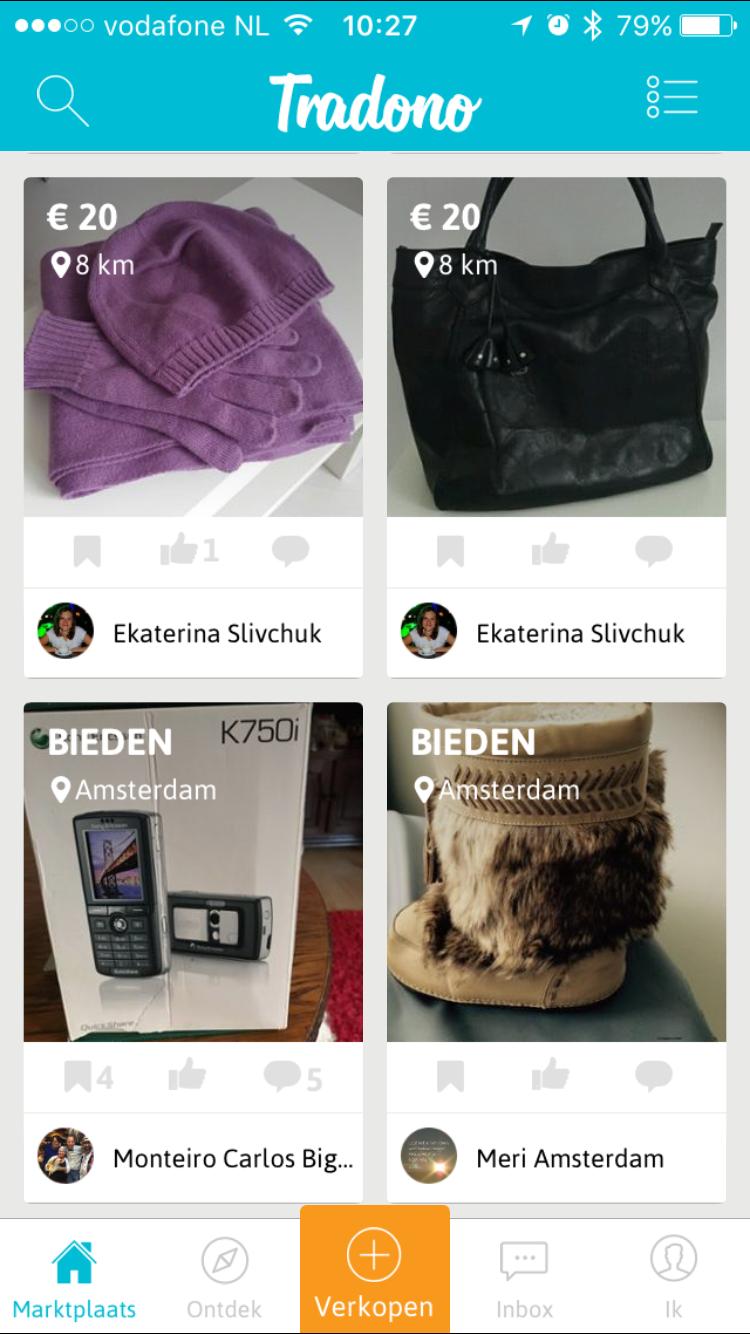 Artikelen in de Tradono-app.