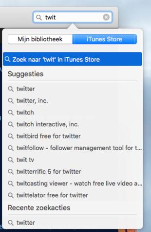Zoeken in de iOS App Store.
