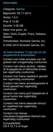 Waarschuwingen voor content in Mac App Store.