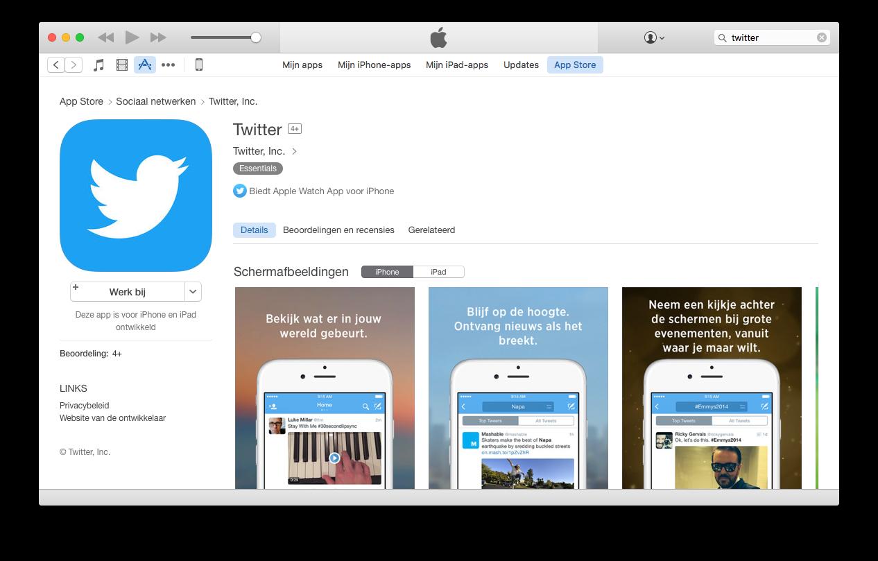 De Twitter-app bekijken in de iOS App Store in iTunes.