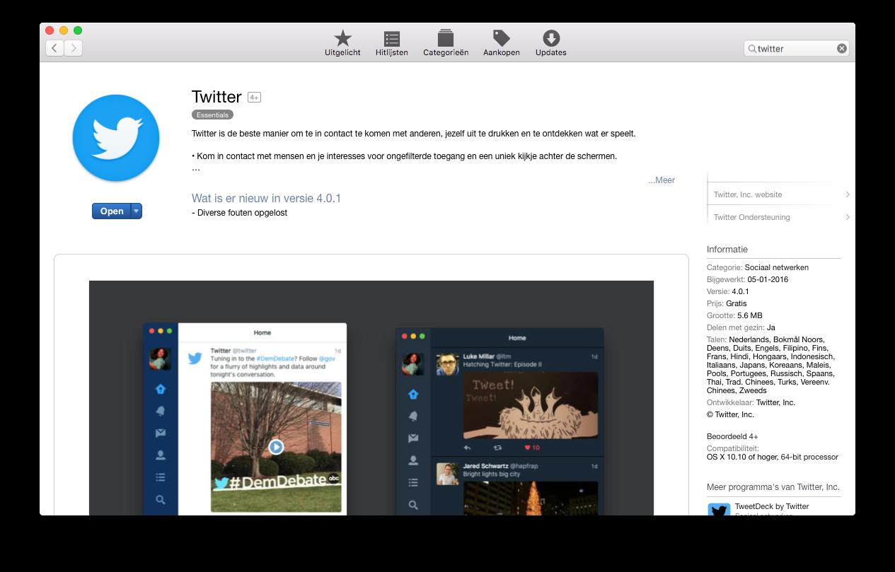 De Twitter-app bekijken in de Mac App Store.