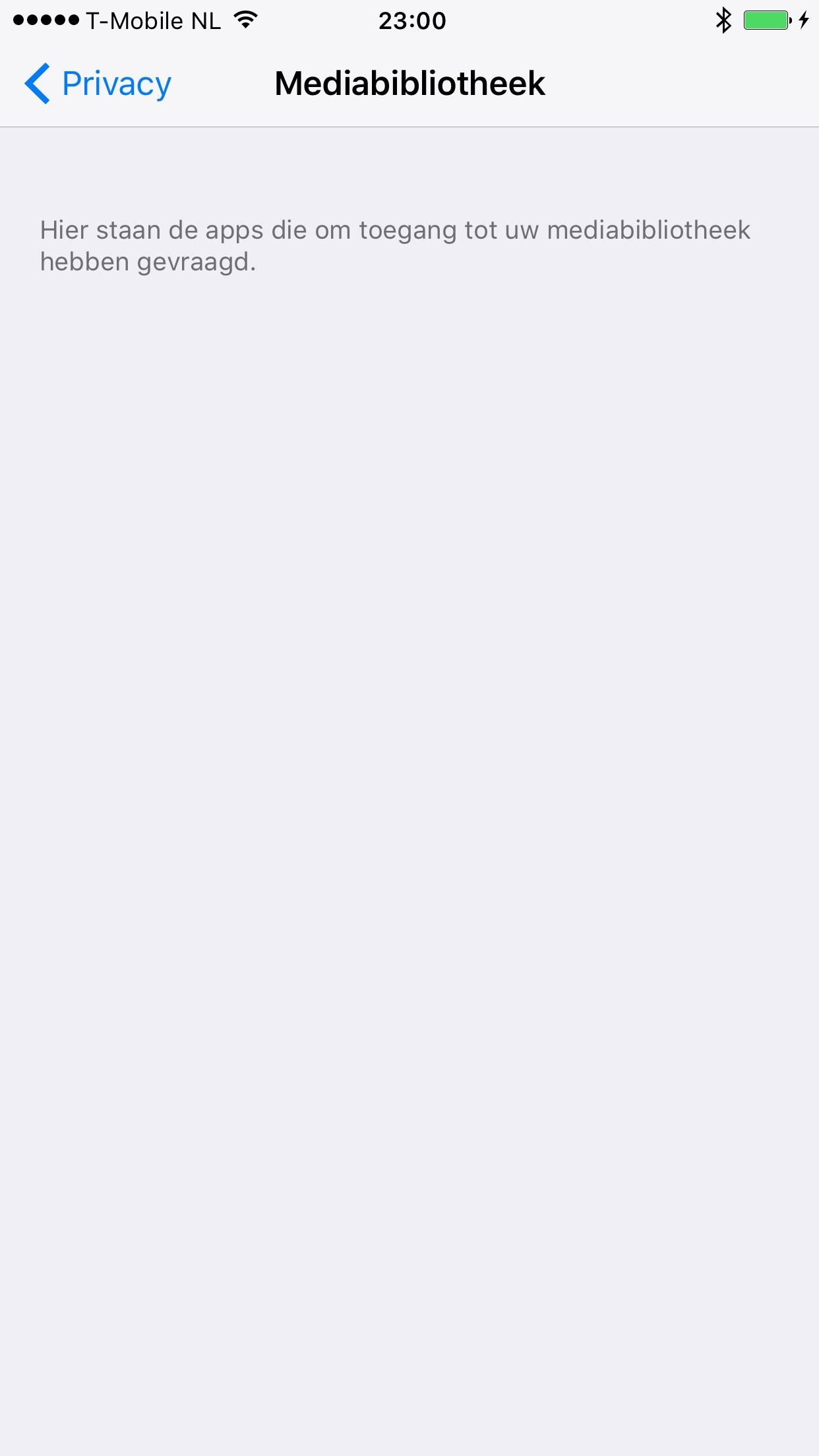 Privacy-instelling voor toegang tot Mediabibliotheek in iOS 9.3.