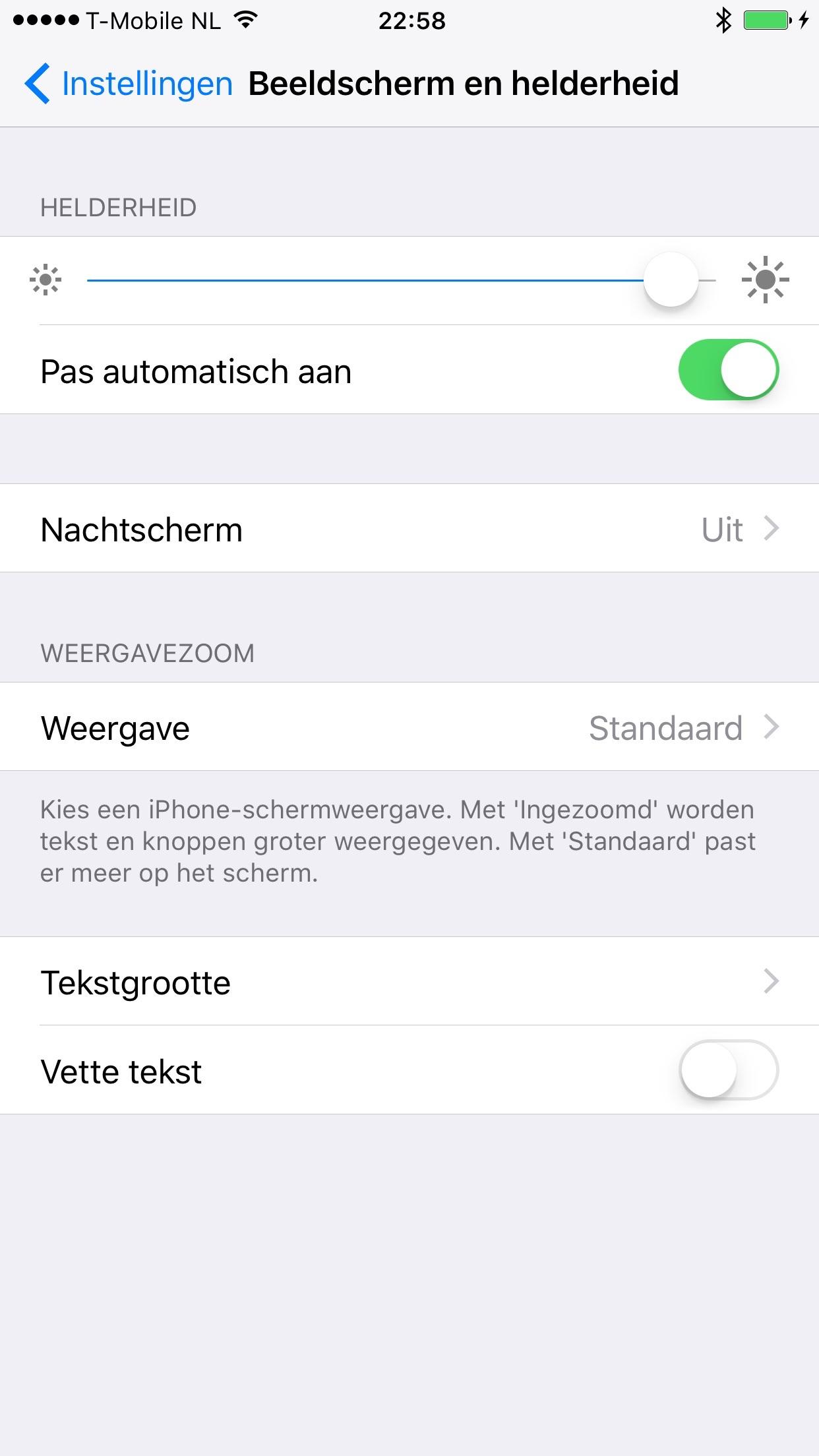 De instellingen voor de nachtmodus in de tweede beta van iOS 9.3.