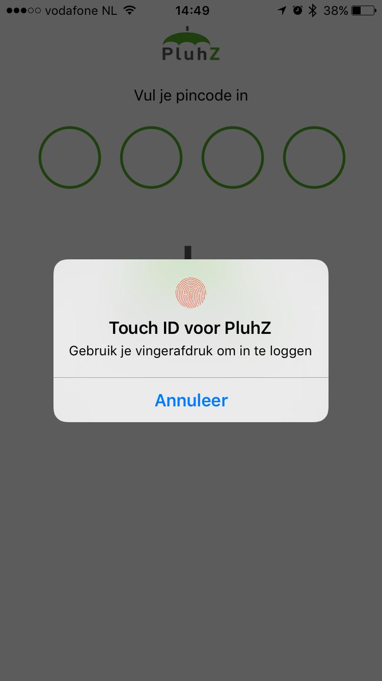 Touch ID gebruiken in PluhZ.