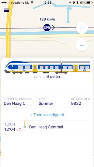Treinsamenstelling bekijken in Treinradar bij NS Reisplanner Xtra.