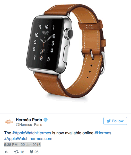 Apple Watch Hermes nu officieel te koop, aldus Twitter-bericht
