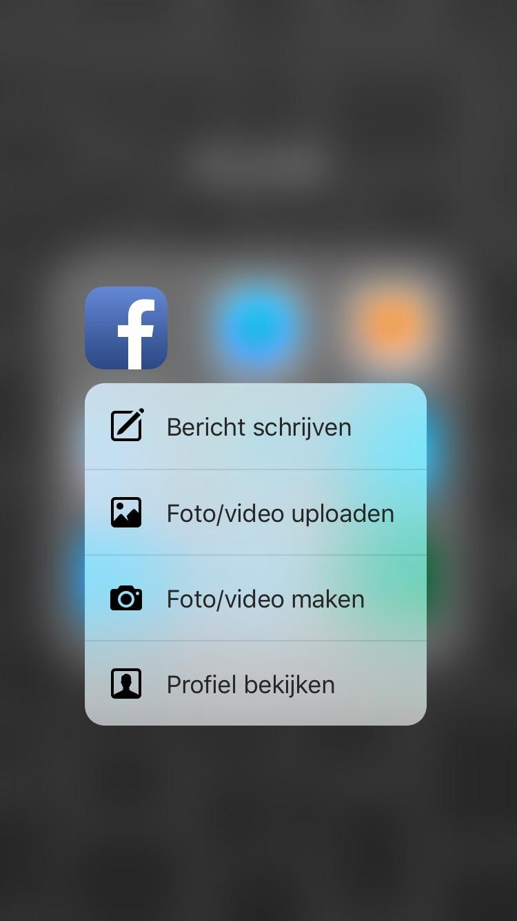 Facebook met uitgebreide 3D Touch.