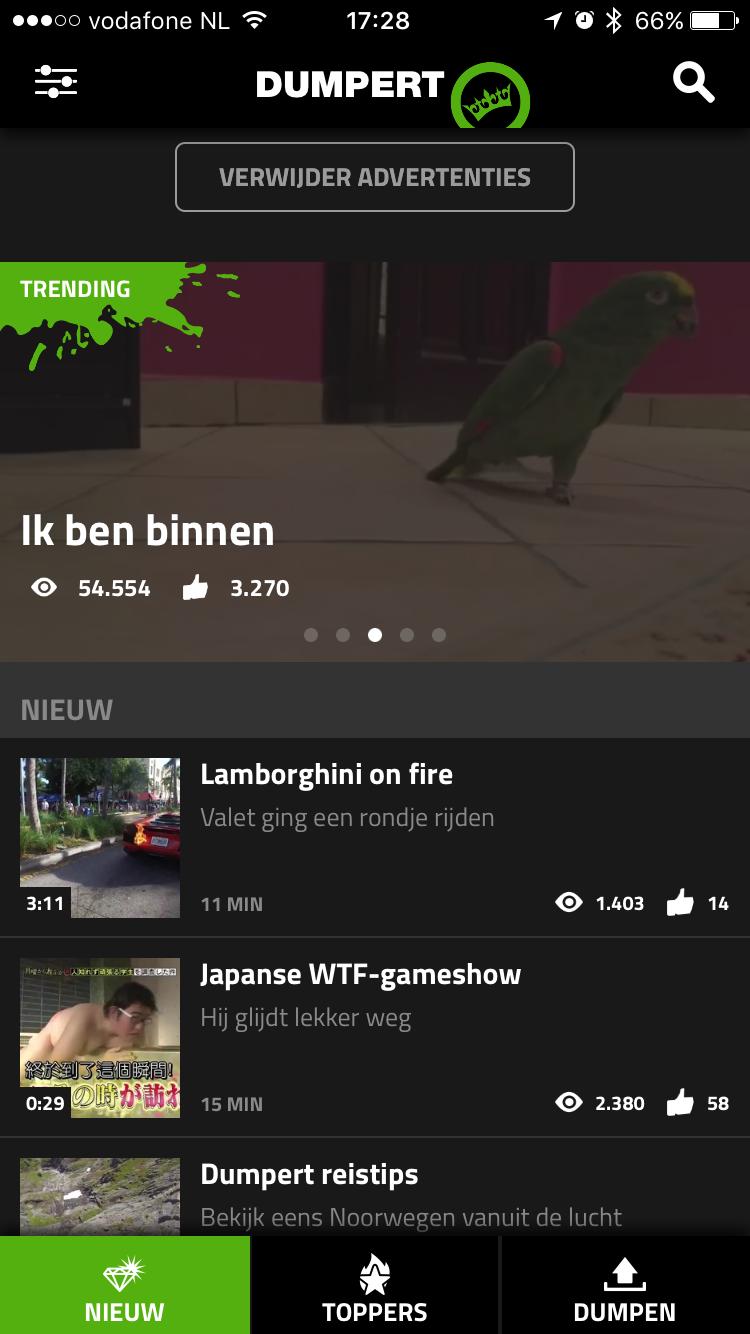 Nieuwe filmpjes en afbeeldingen in de Dumpert-app.