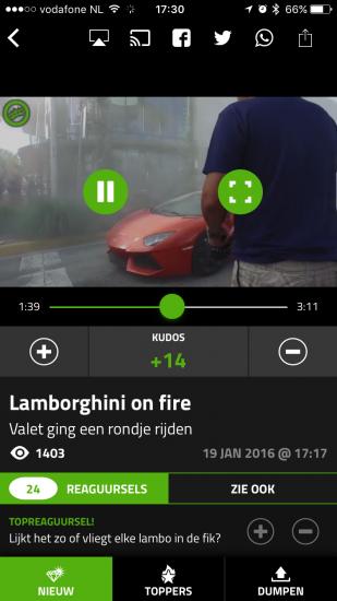 Een filmpje bekijken via de Dumpert-app.