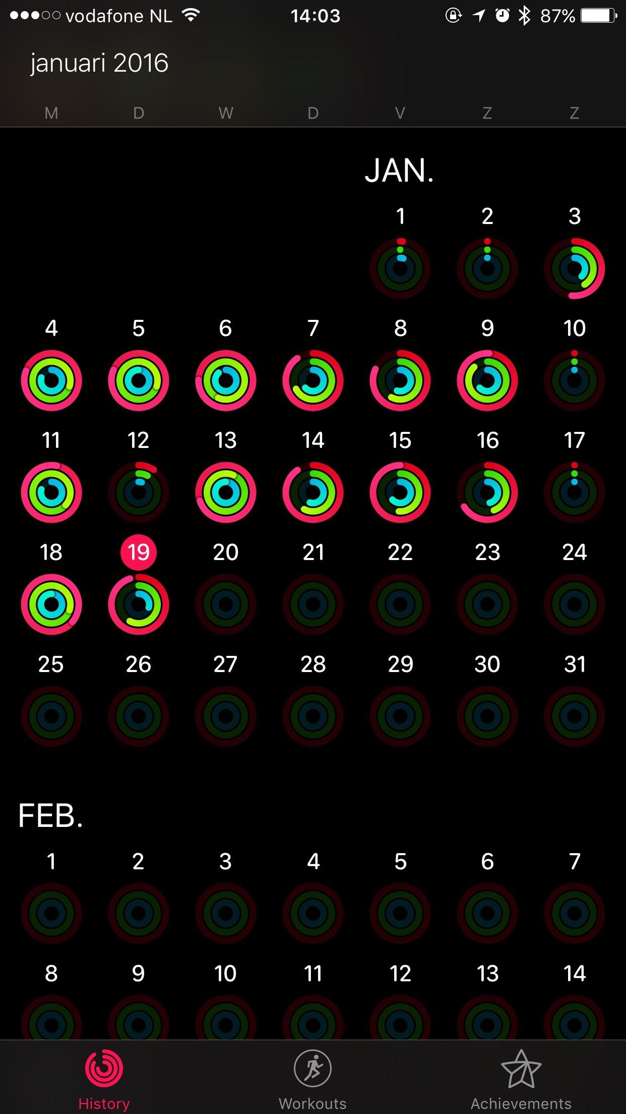 De activiteitenringen van Alex met de Apple Watch.