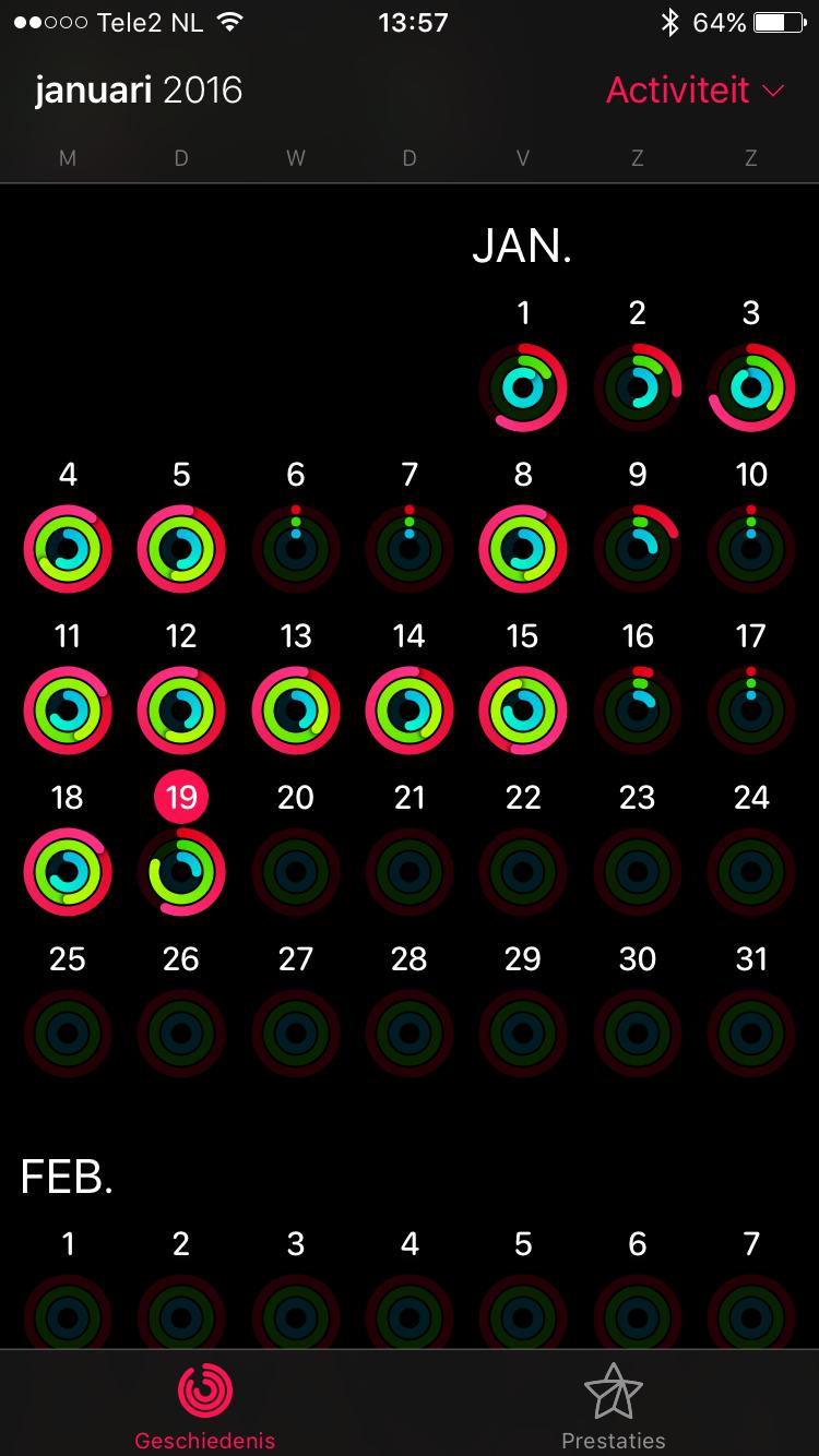 De activiteitenringen van Lars met de Apple Watch.