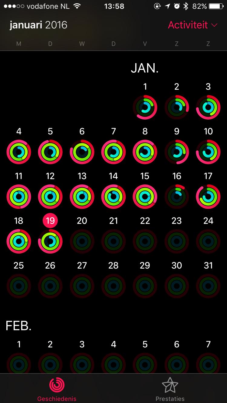 De activiteitenringen van Benjamin met de Apple Watch.