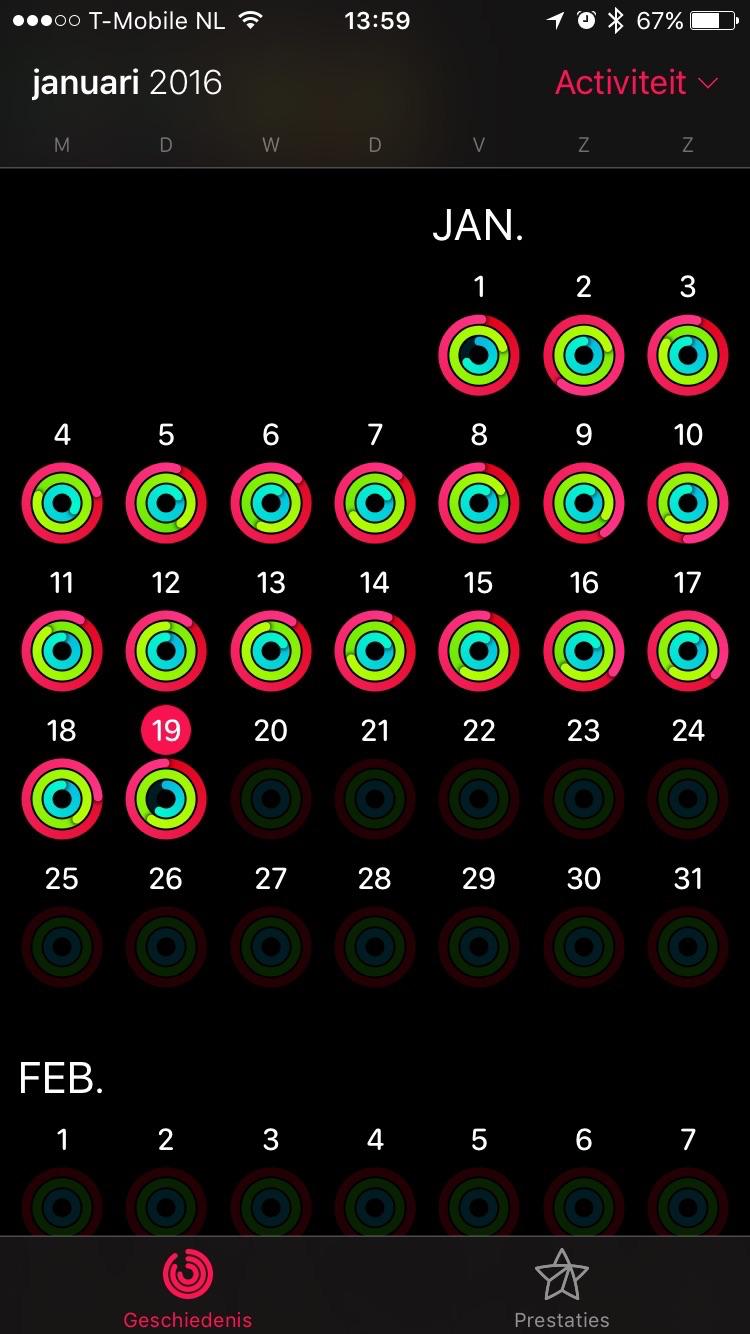 De activiteitenringen van Jean-Paul met de Apple Watch.