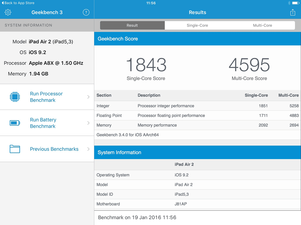 Geekbench iPad Air 2
