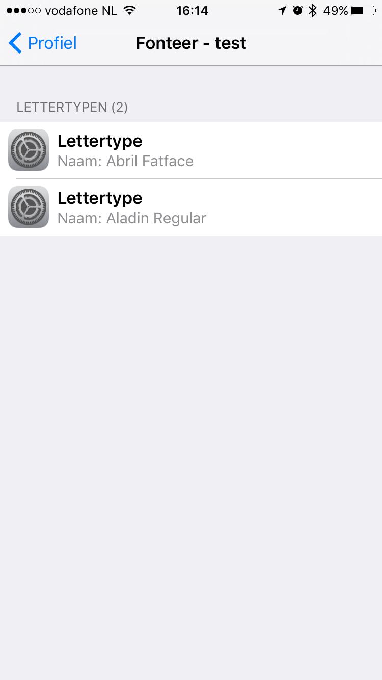 Profielen in iOS via Fonteer.