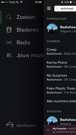 Spotify-veegfunctie