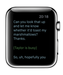 Lifeline op de Apple Watch met tekst.
