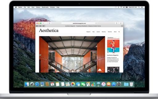 Safari 9.x op een MacBook