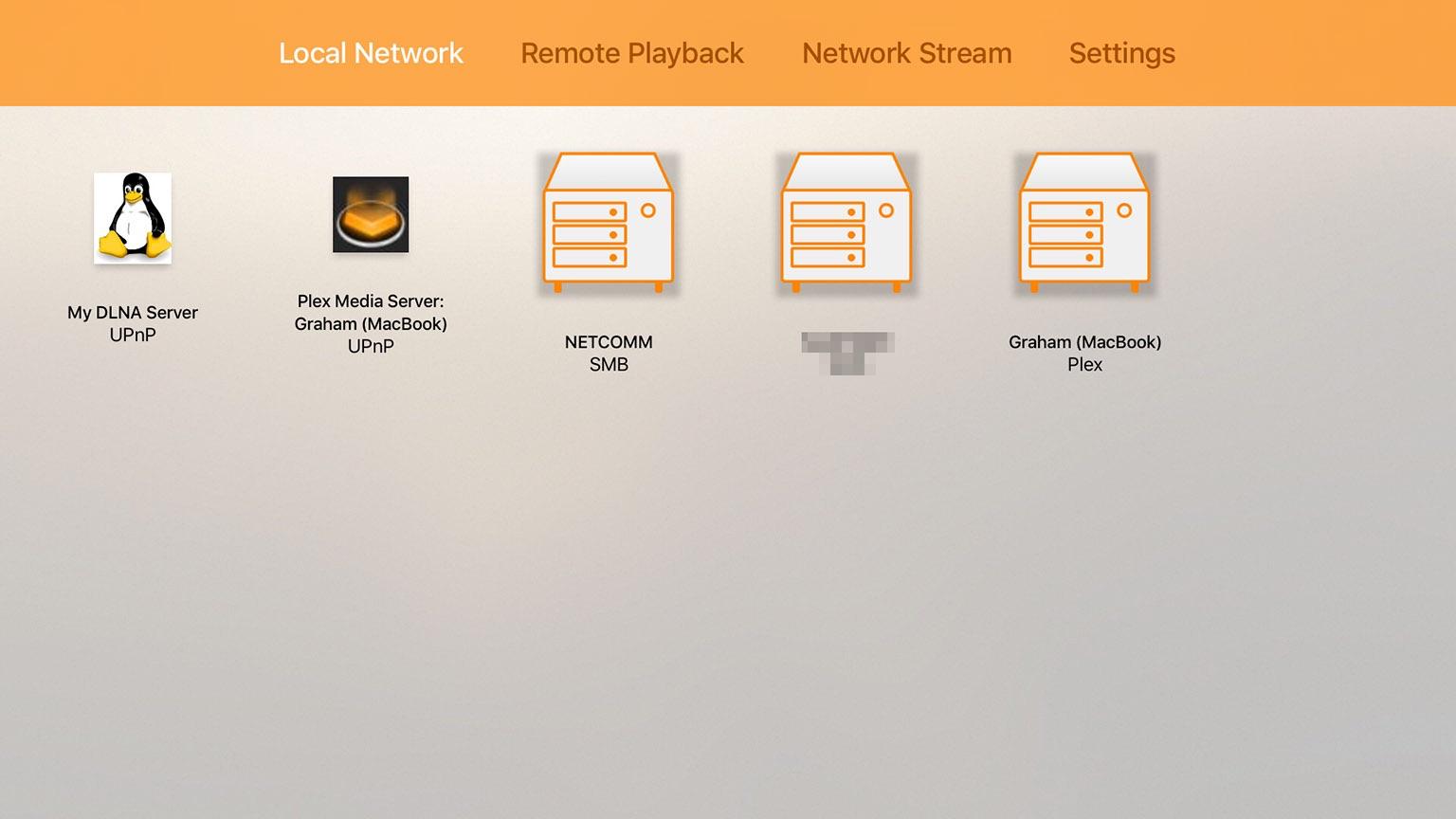VLC op de Apple TV met een lokaal netwerk.