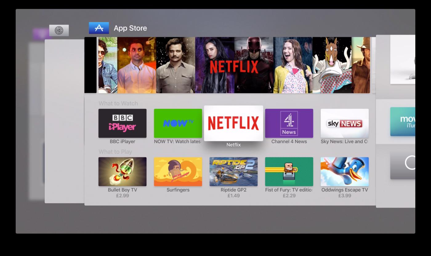 Nieuwe appkiezer in tvOS 9.2 voor Apple TV.