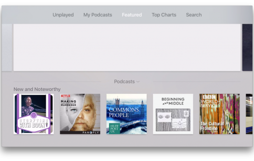Podcasts-app in tvOS 9.2 voor nieuwe Apple TV.