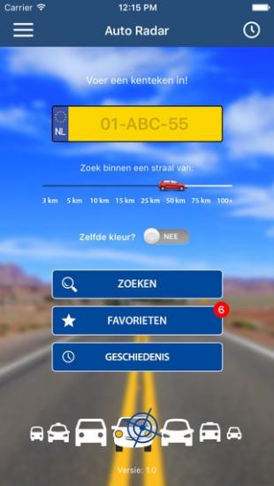 Auto Radar laat je zoeken naar auto's op kenteken.